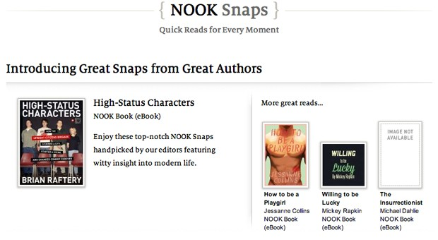Barnes & Noble Nook Snaps offer literature in $2 bites