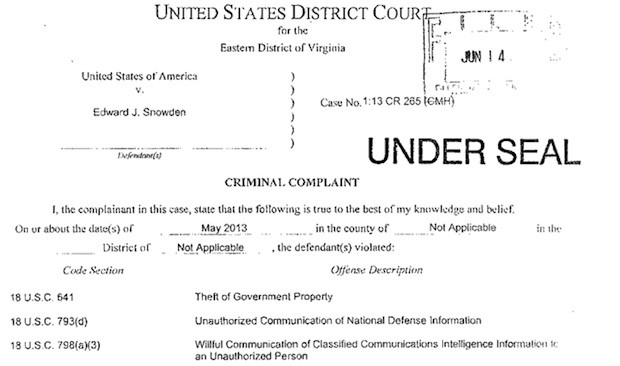 US government files criminal charges agains Edward Snowden over PRISM leaks