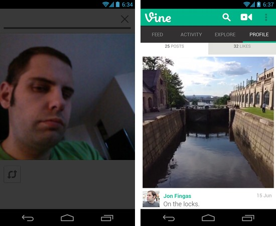Vine for Android gets front camera support, upload manager