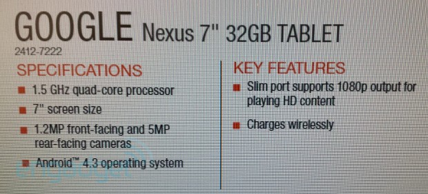 New Nexus 7 leak suggests Android 43, dualcameras and wireless charging included