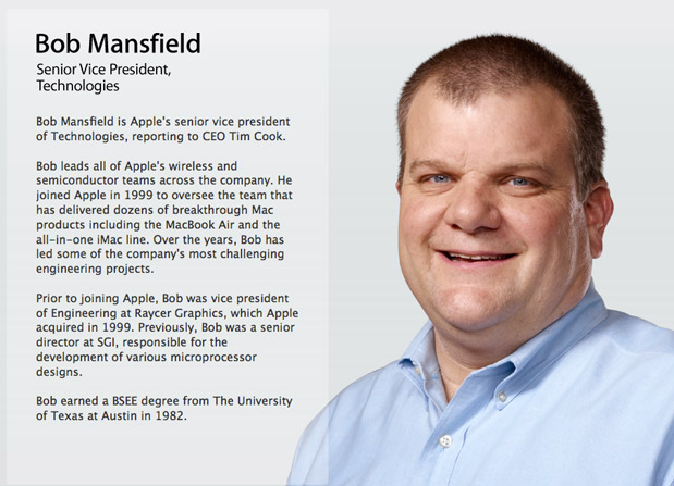 Senior VP Bob Mansfield removed from Apple's leadership page