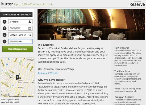 Groupon takes on OpenTable with 'Groupon Reserve,' bundles reservations with coupons