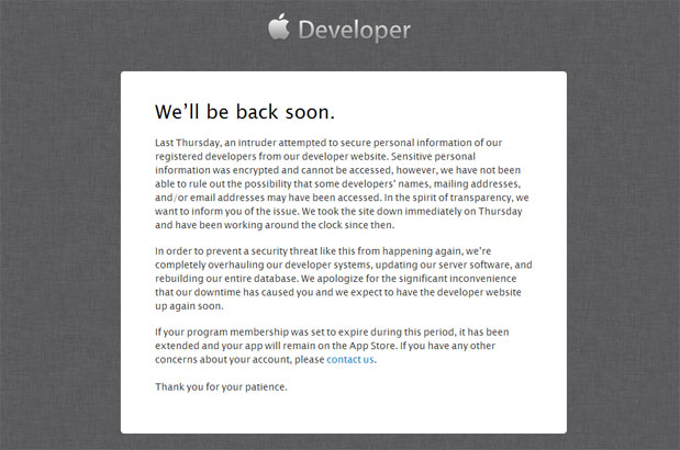 Apple reveals that developer portal was hacked, announces system overhaul