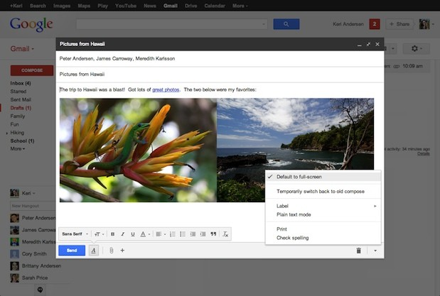 Google brings new fullscreen compose window to Gmail