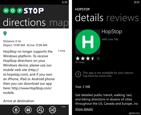 HopStop drops Windows Phone support in wake of Apple acquisition