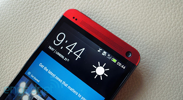 HTC One in red handson