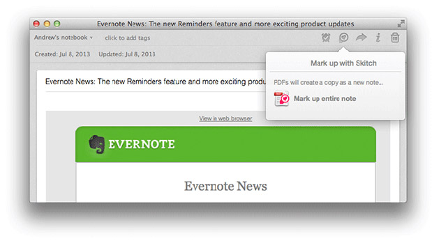 DNP Evernote for Mac adds highlighting, document preview and Skitch annotation
