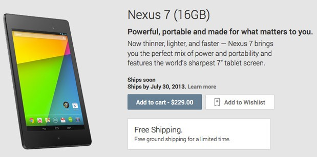 New Nexus 7 now available to order from Google's US Play Store