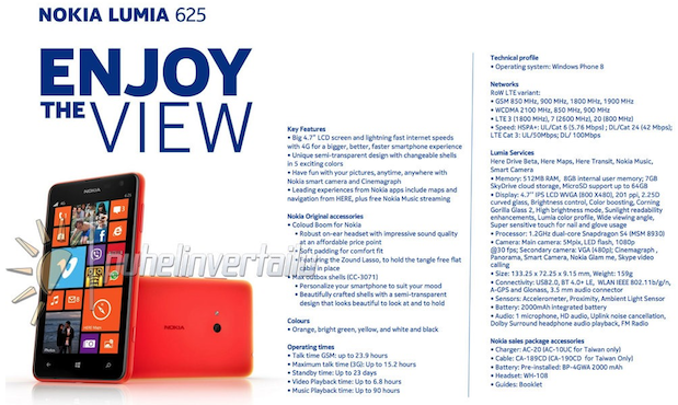 DNP Nokia Lumia 625 leaked, suggests 47inch display, 12GHz dualcore processor and 5megapixel rear camera