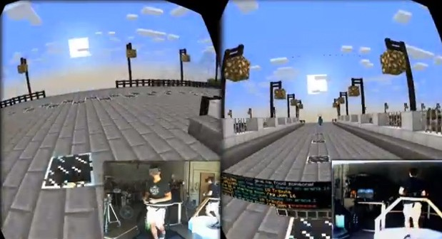 Virtuix Omni gaming treadmill demoed with Minecraft in multiplayer mode