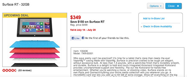 Surface RT 16GB gets price cut to $349 at Staples, starting July 14th