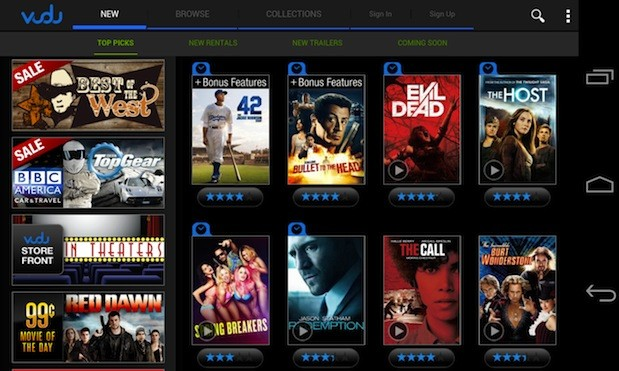 Vudu for Android now available on some phones, not just tablets