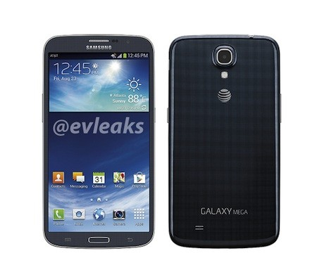 Galaxy Mega 63 press render surfaces with navy blue body, AT&T branding