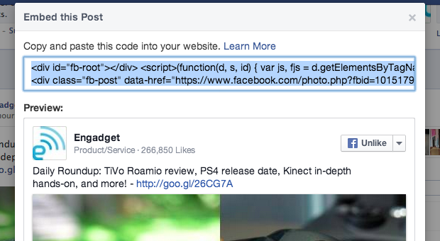 Facebook now letting everyone embed posts, even your mom