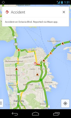 Google Maps for iOS and Android  gets real time Waze reports