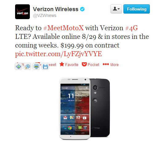 Moto X for Verizon officially available online August 29th, in stores in the coming weeks