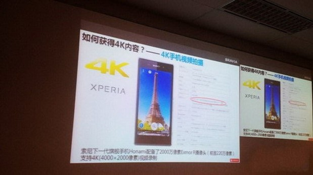 Marketing slide suggests Sony's Honami smartphone may shoot 4K video