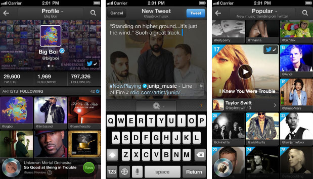 Twitter Music iOS app updated with discovery features, additional languages