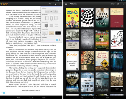 Kindle for Android app updated with library sorting and reading progress ticker