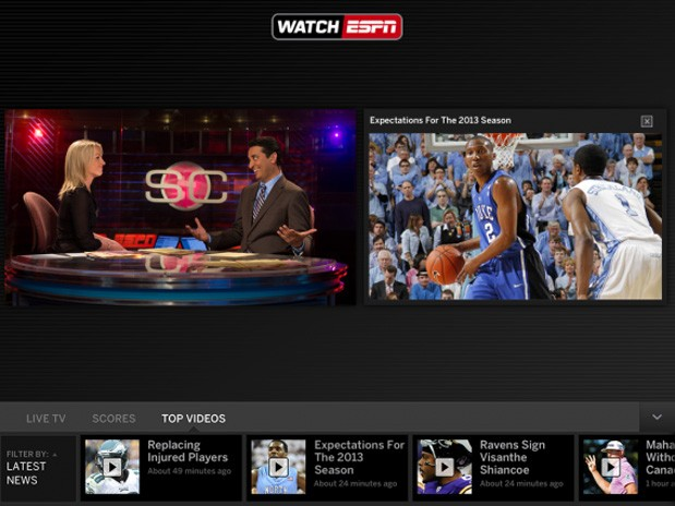 WatchESPN update brings live toolbar to iPad with guides and scores