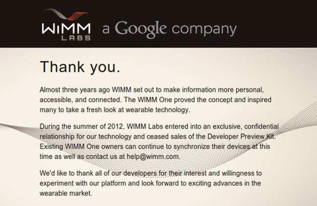 Google quietly acquired smartwatch maker WIMM Labs