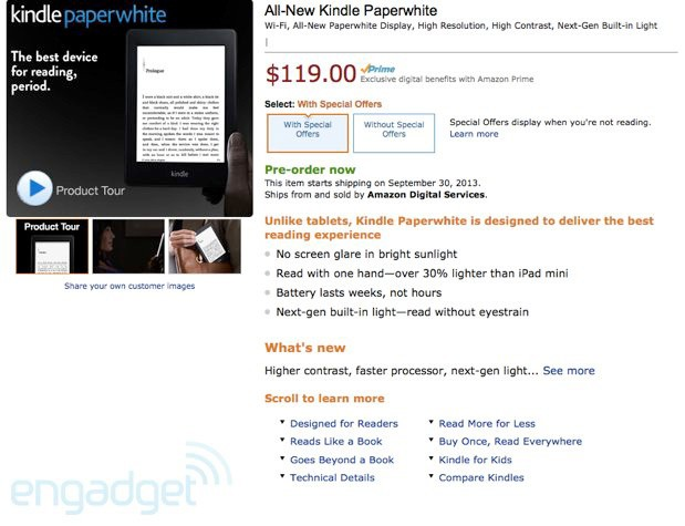 Amazon lists nextgeneration Kindle Paperwhite with new display