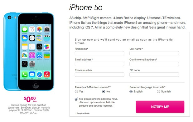 TMobile posts iPhone 5c and 5s pricing, starting at $0 down on downpayment plan