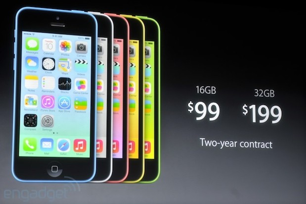 Apple announces the iPhone 5C 4inch Retina display, plastic design, available in five colors starting at $99 oncontract