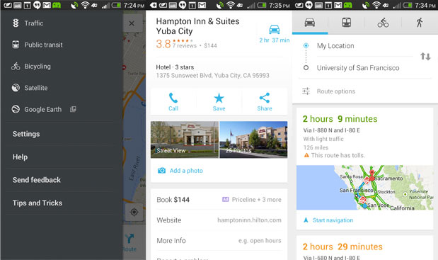 Google Maps updated for Android with sponsored hotel details, better navigation