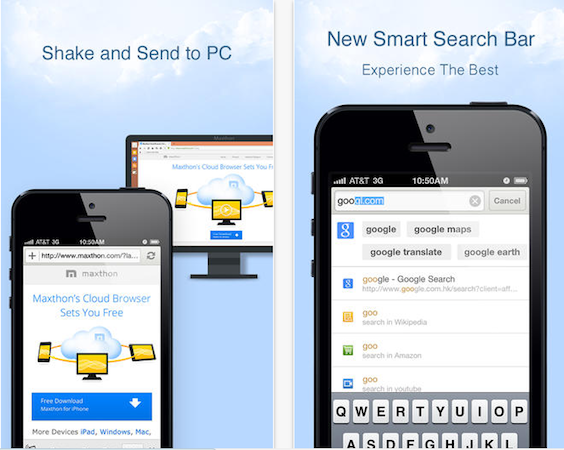 DNP Maxthon updates iOS browser with 'shakeandsend' cloud push and more