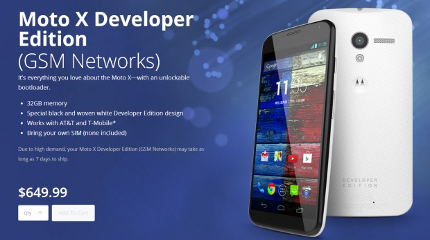 GSM Moto X Developer Edition now available