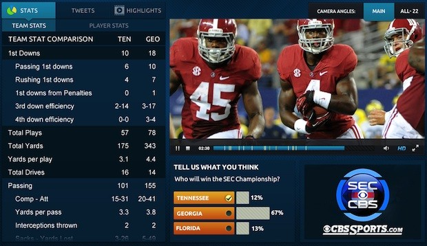 CBS Sports will stream Alabama vs Texas A&M on its website, mobile apps