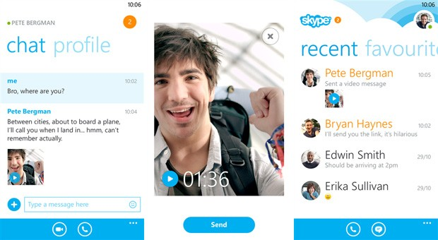 Skype for Windows Phone 8 now supports video messaging