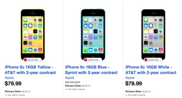Target also selling the iPhone 5c for $7999 oncontract, now accepting preorders