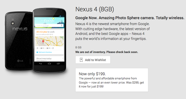 8GB Nexus 4 is sold out at Google Play and it's not coming back, new Nexus handset on the way