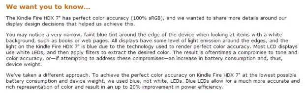 Your Kindle Fire HDX's bluetinged screen edge is perfectly normal