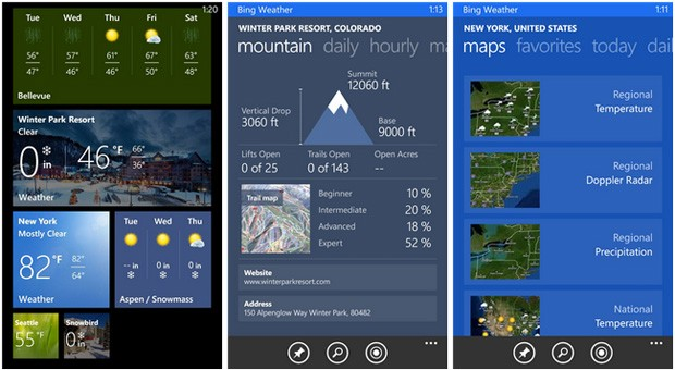 Bing Weather and Sports apps for Windows Phone get skiing weather, more leagues