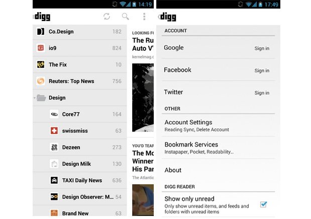 Digg for Android gets an unread mode and speed improvements