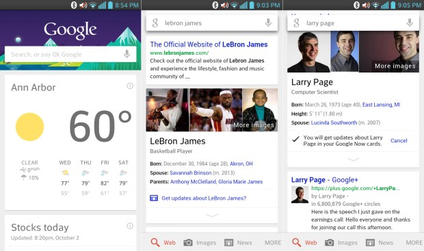 Google Search for Android updates rolling out with new hotword, Now cards for notable people