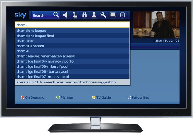 Sky upgrade brings unified, asyoutype show searches