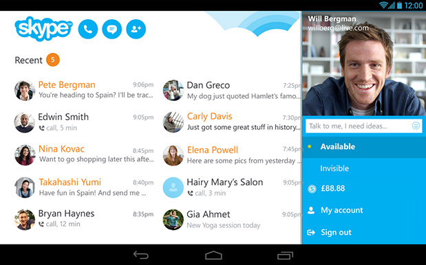 how to delete skype from tablet