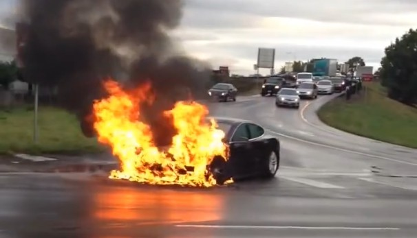 tesla model s catches fire after battery puncture musk