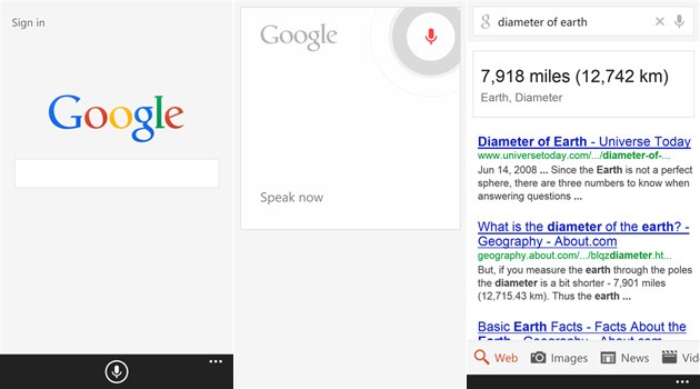 Google Search for Windows Phone now lets you sign in, shows instant voice results