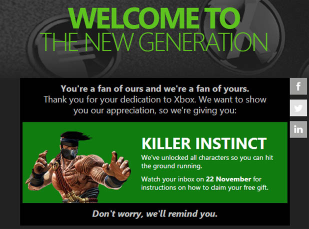 Xbox Music free for XBL Gold subs on Xbox One, some folks getting free Killer Instinct