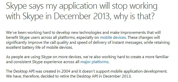 DNP Skype discontinues its current programming tools, renders addons useless in December