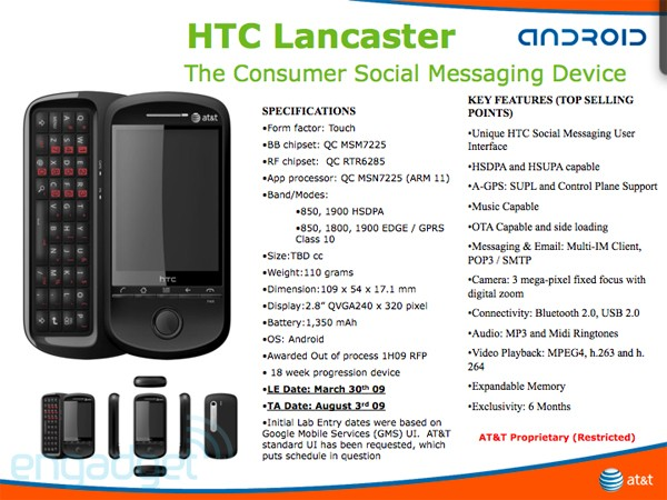 Leaked image of HTC Lancastar under At&T branding (Source:Engadget)