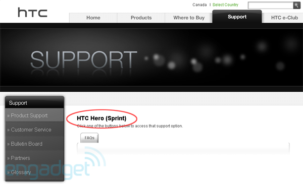 HTC shows Hero coming to Sprint, Snap for Altel Htc-hero-sprint-support-page