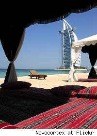 Dubai white sand beach with luxurious shade tent