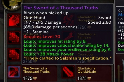 Wow Sword of a Thousand Truths Sword of a Thousand Truths
