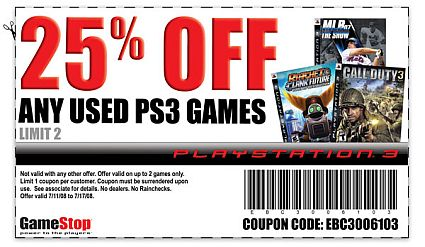 May 05,  · Use this coupon to save money off the purchase of any one pre-owned game. That means you can get your hands on some of your favorite games without having to dig so deeply into your pockets. It's like a pocket protector for gamers! Printable Coupon for Operating System: PS3.